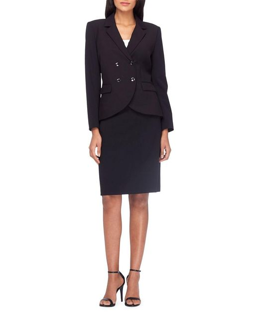 tahari button front jacket and pencil skirt suit set in