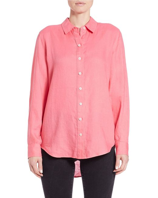 Lord Taylor Linen Hi Low Dress Shirt In Pink Save 16