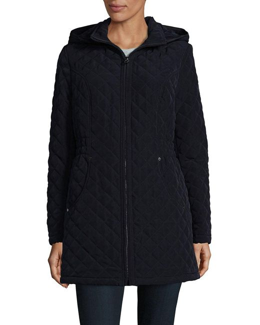 Laundry by Shelli Segal   Blue Faux Fur-trimmed Quilted Jacket   Lyst