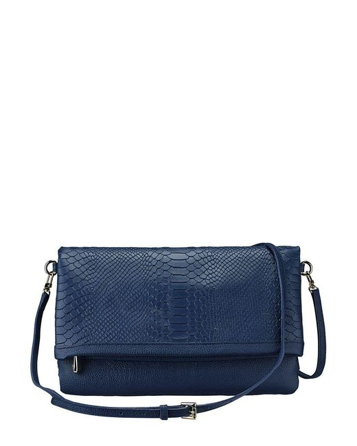Gigi New York Blue Carly Python-embossed Leather Convertible Clutch