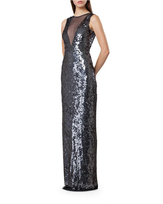 JS Collections | Blue Sequined Illusion-neck Gown | Lyst