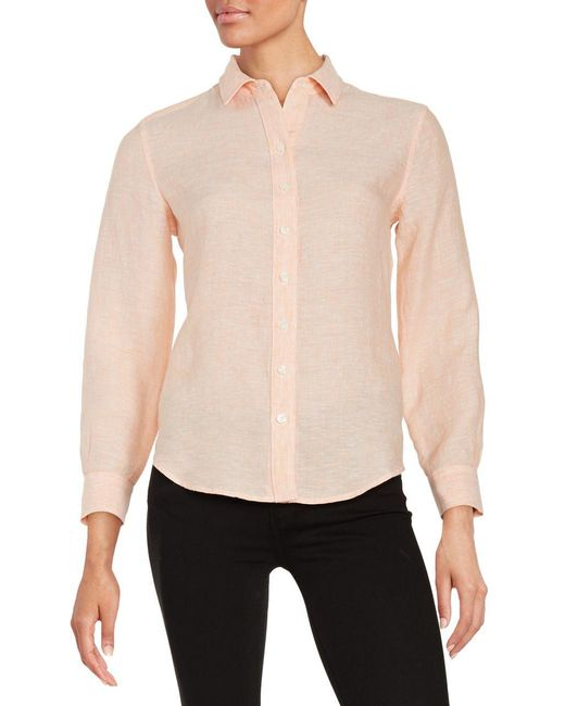 Lord & Taylor | Pink Petite Linen Blouse | Lyst
