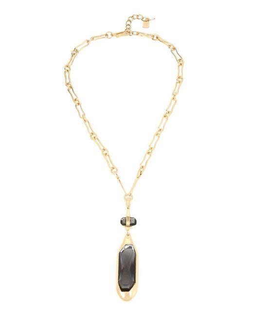 Robert Lee Morris - Black Geometric Faceted Pendant Goldtone Necklace - Lyst
