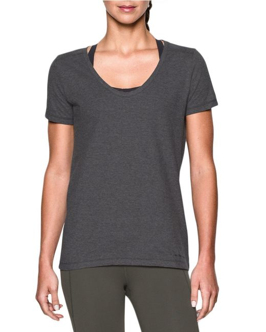 Under armour solid moisture wicking t shirt in gray grey for Gray under armour shirt
