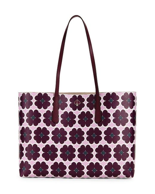 Kate Spade Purple Molly Graphic Clover Large Tote