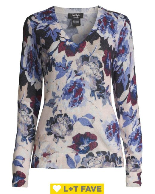 Lord & Taylor Blue V-neck Floral Cashmere Sweater