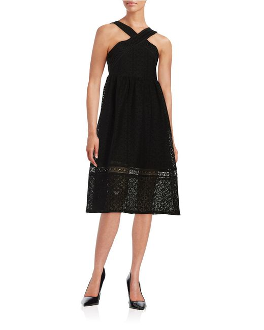 lord taylor lace halter dress in black save 44 lyst