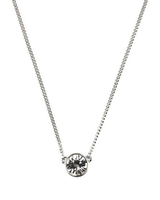 Givenchy - Metallic Single Crystal Stone Necklace - Lyst