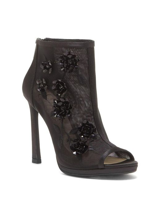 Jessica Simpson - Black Floral Embellished Mesh Booties - Lyst