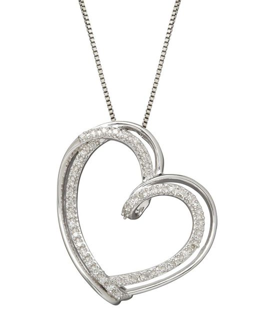 Lord & Taylor Metallic Sterling Silver Diamond Heart Pendant Necklace