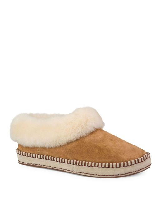 Ugg | Brown Wrin Leisure Fur-trimmed Leather Slippers | Lyst