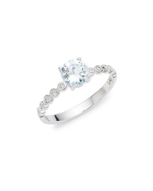 Lord & Taylor Metallic 14k White Gold Diamond And Aquamarine Ring