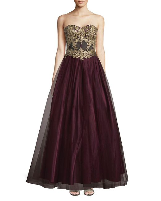 Lyst Blondie Nites Embroidered Ball Gown In Purple