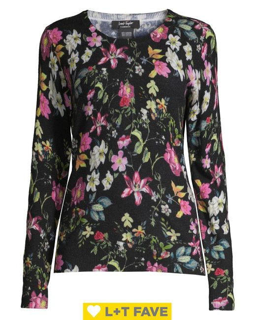 Lord & Taylor Black Floral Cashmere Sweater