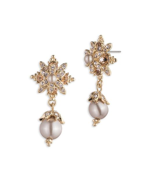 Marchesa - Metallic 3mm And 6mm Faux Pearl Drop Earrings - Lyst