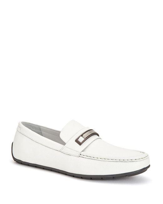 Calvin Klein | White Irving Tumbled Leather Loafers | Lyst