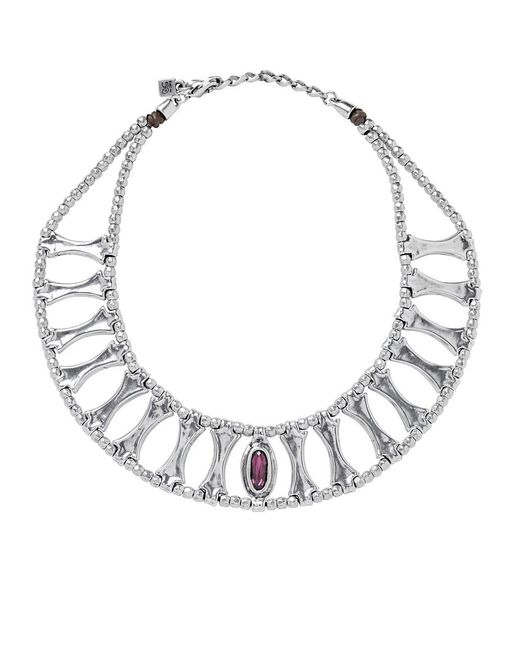 Uno De 50 - Metallic Crystal And Leather Beaded Necklace - Lyst