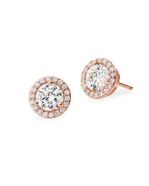 Michael Kors Metallic Custom Kors Sterling Silver & Crystal Stud Earrings