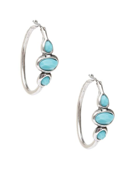 Lucky Brand Blue Silvertone And Turquoise Stone Hoop Earrings