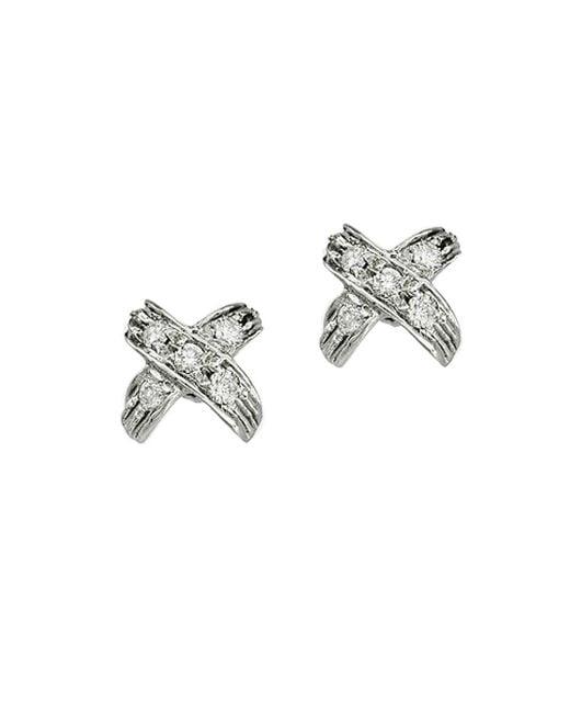Roberto Coin - Metallic 18k White Gold & Diamond X Pave Earrings - Lyst