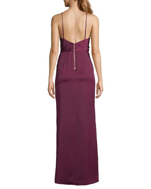 6bf1b7321c Lyst - Betsy   Adam Ruched Side Slit Satin Gown in Purple - Save 30%