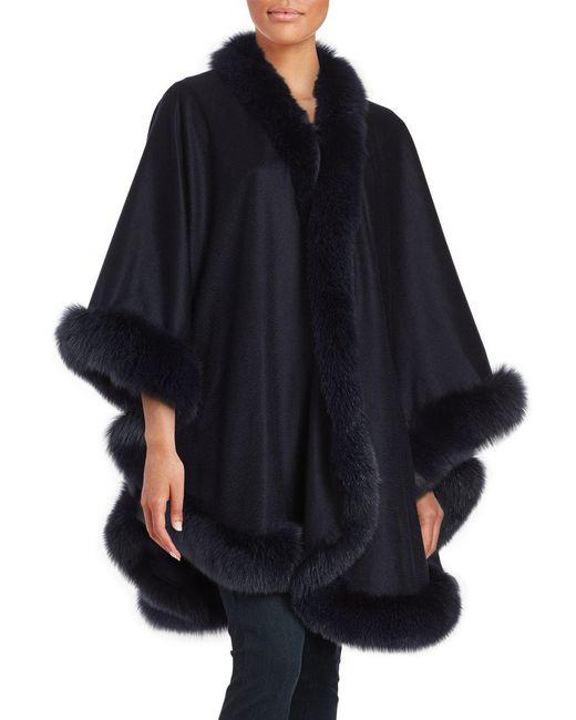 Sofia Cashmere Fox Fur-trimmed Cashmere Wrap In