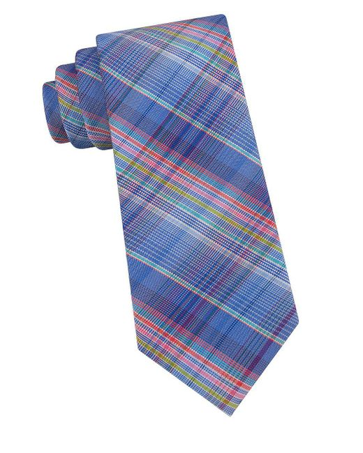 Ted Baker - Blue Ombre Plaid Silk Tie for Men - Lyst