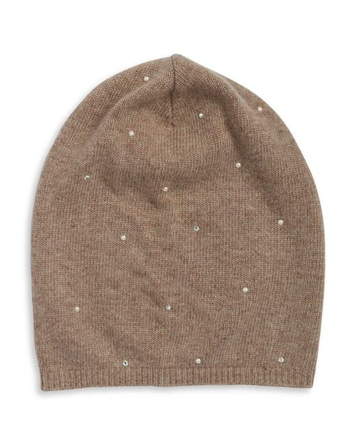 Portolano - Brown Studded Slouch Fur Hat - Lyst