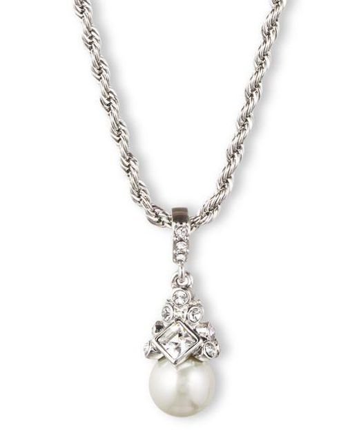 Givenchy Metallic Braided Silvertone And Crystallized Pearl Pendant Necklace