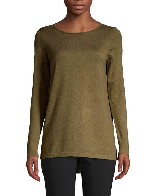 Lord & Taylor Green Petite Knit Long-sleeve Tunic