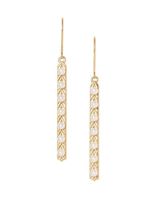 Sole Society Metallic 12k Goldtone & Faux Pearl Linear Drop Earrings