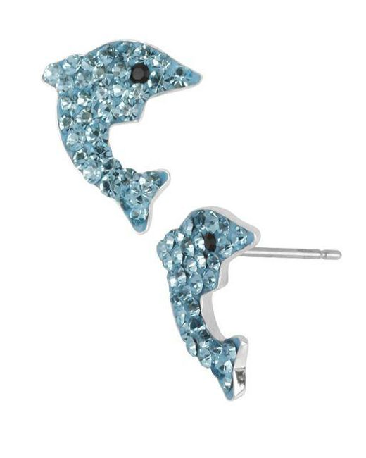 Betsey Johnson Blue Pave Dolphin Stud Earrings