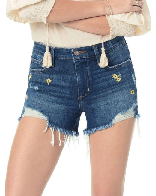 Joe's Jeans Blue Cut-off Embroidered Daisy Shorts