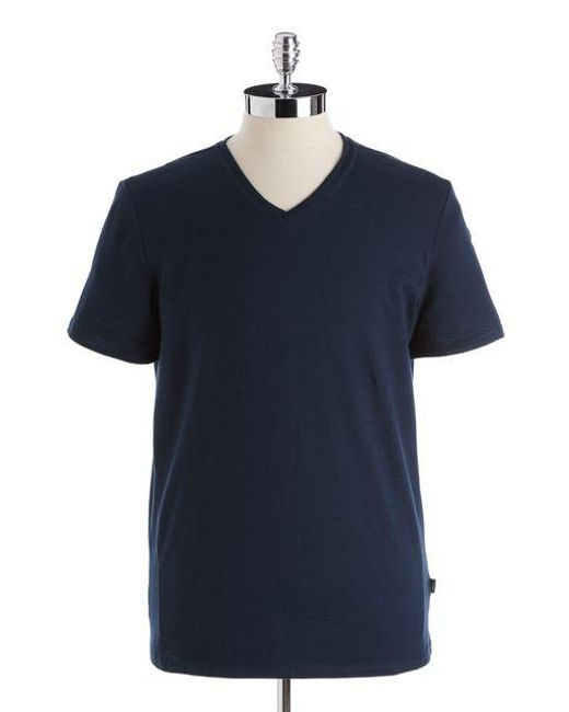 CALVIN KLEIN 205W39NYC - Blue Cotton Slim-fit V-neck T-shirt for Men - Lyst