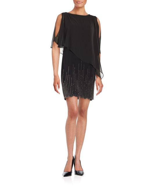 Xscape - Black Embellished Popover Dress - Lyst