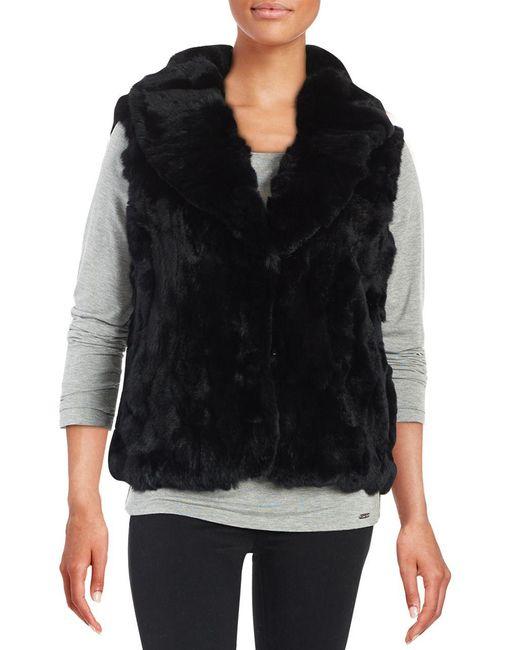 Surell - Black Rex Rabbit Fur Vest - Lyst