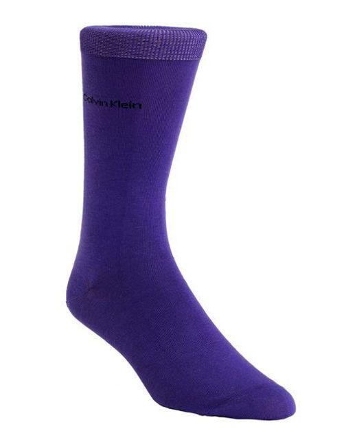 Calvin Klein - Purple Egyptian Cotton Knit Socks for Men - Lyst