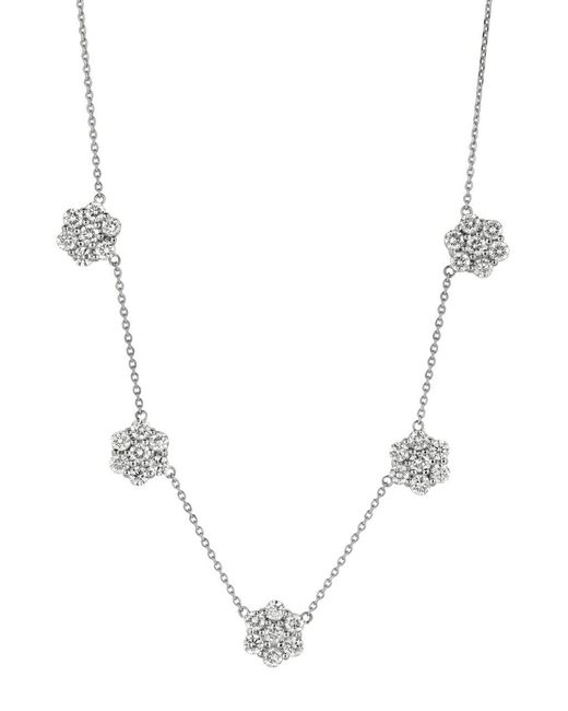 Morris & David - Metallic Diamonds And 14k White Gold Necklace - Lyst