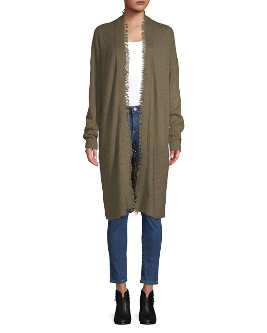 Lord & Taylor - Green Fringe Trimmed Cardigan - Lyst