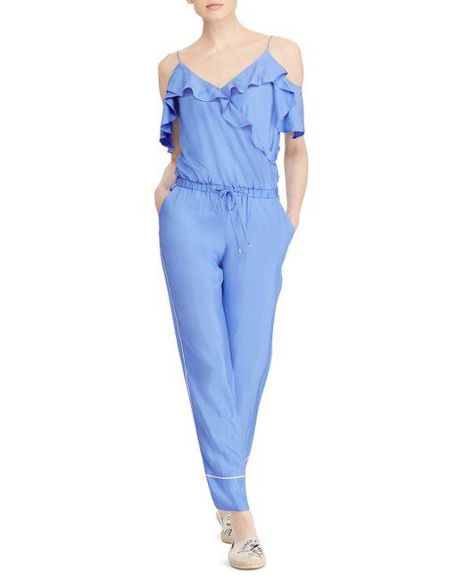 Lauren by Ralph Lauren - Blue Twill Cold-shoulder Jumpsuit - Lyst
