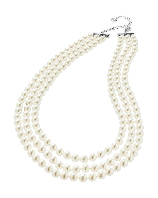 Nadri White Three-row Pearl Necklace