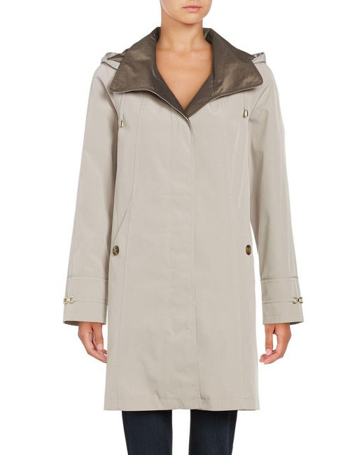 Gallery - Natural Removable Hood Rain Coat - Lyst