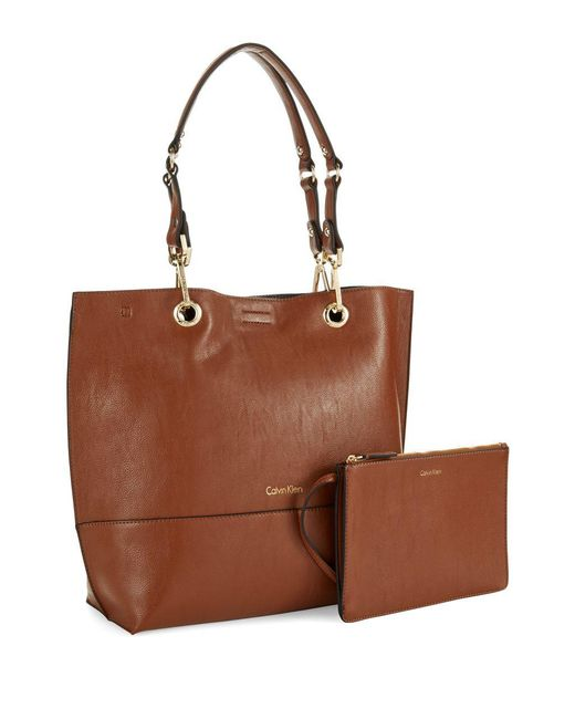 CALVIN KLEIN 205W39NYC - Brown Reversible Faux Leather Tote - Lyst