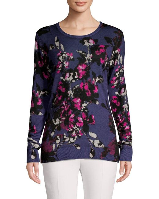 Lord & Taylor Blue Floral Merino Wool Sweater
