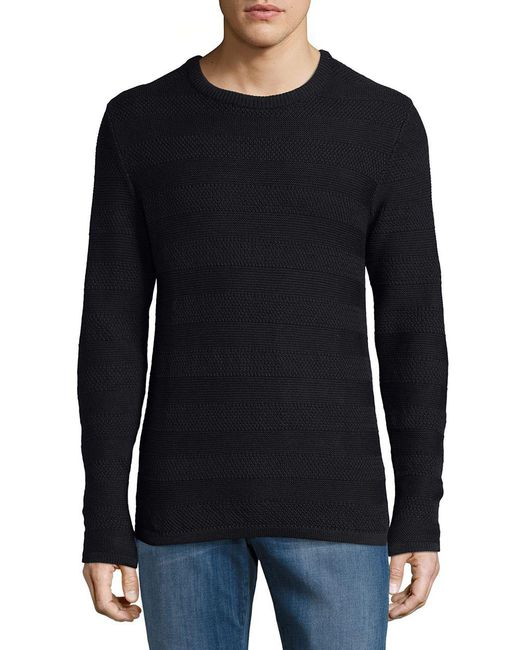 SELECTED - Blue Cotton Striped Texture Sweater for Men - Lyst