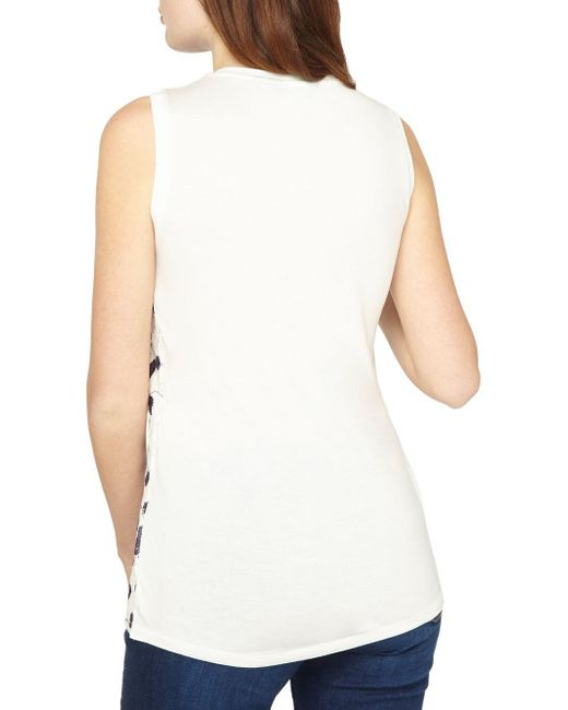 ee139add270e2f ... Dorothy Perkins - White Sleeveless Lace Floral-embroidered Top - Lyst  ...