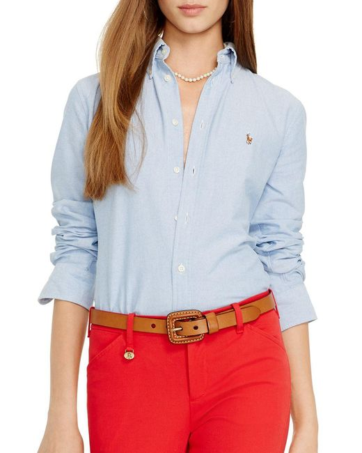 Polo Ralph Lauren - Blue Custom Fit Washed Oxford Shirt - Lyst