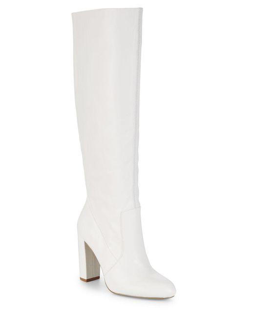 Steve Madden - White Eton Leather Knee-high Boots - Lyst