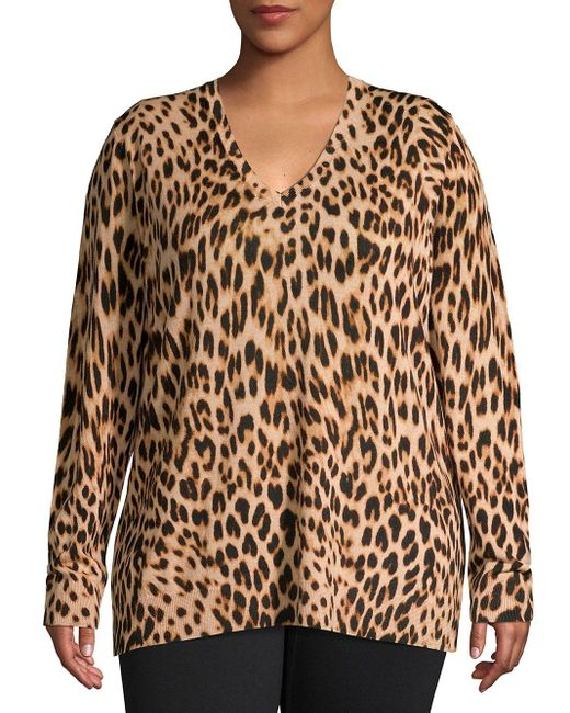 Lord & Taylor Brown Plus Leopard-print V-neck Wool Sweater
