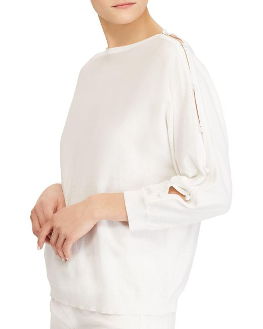 Lauren by Ralph Lauren - White Button-sleeve Cotton Top - Lyst